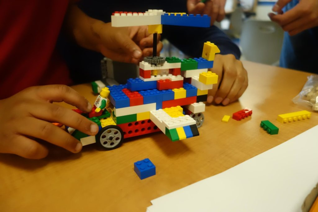 Close up of the lego design a student tutee with the DC STEM program is building.