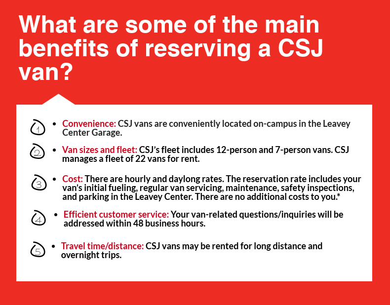 Third portion of CSJ Van Infographic, all text on infographic is written out below infographics in text on our website