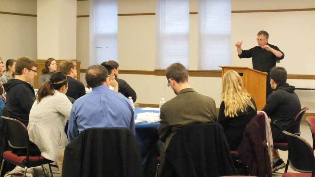 """Father Steck offers remarks on """"Solidarity as a Christian Virtue"""" at an event co-sponsored with Campus Ministry"""