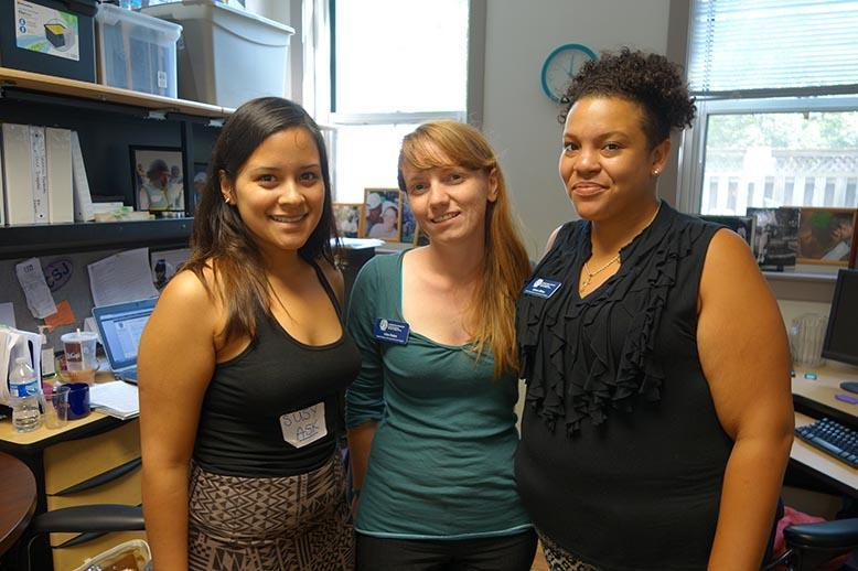 From left to right, Susy and alumni Gina and Allison now work for CSJ's ASK program.