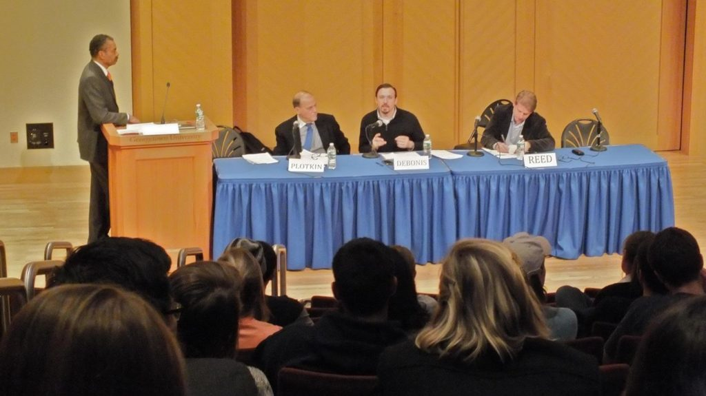 Washington Post reporter and Georgetown alum Mike Debonis (second from right) speaks on CSJ Education Week panel