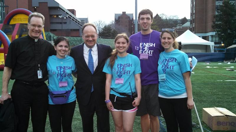 Relay for Life student leaders with President DeGioia