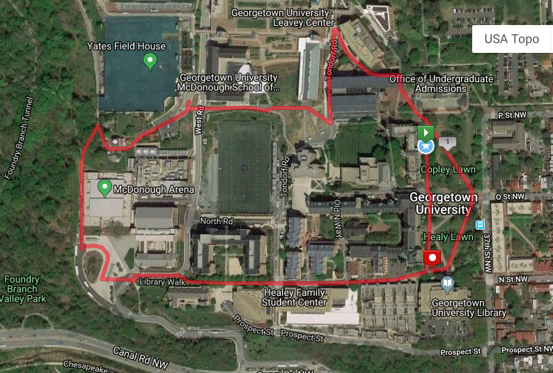Map of campus that outlines the route for the 5k. Participants will fully circle the campus: diagonally across Healy and Copley lawns, behind White Gravenor, around the Leavey Center onto Tondorf Rd, between the McDonough School of Business and Cooper Field, in front of Yates Field House, behind the McDonough Arena to the bus turnaround, up Library walk, past HFSC to the front of campus and back to Healy lawn.