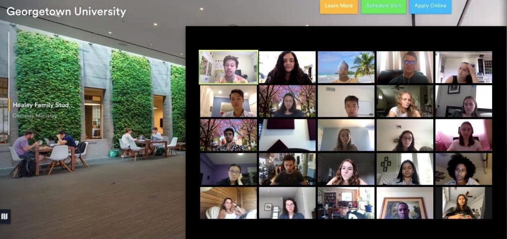 "Screenshot of a virtual Zoom ""tour"" of Georgetown."
